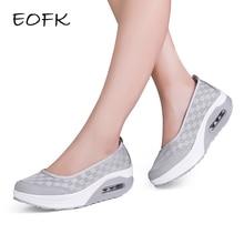 Eofk夏秋女性プラットフォームフラッツ女性カジュアルスニーカーエアクッション快適無地黒スリップオン女性ボートの靴