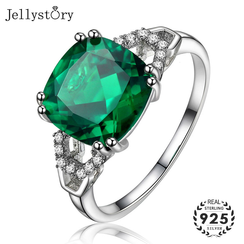 Jellystory Fashion 925 Sterling Silver Jewellery Ring with Square Sapphire Ruby Emerald Zircon Gemstones for Women Wedding Gifts