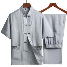 Traditionelle Chinesische Kleidung Set für Männer Erwachsene Tai Chi Kung Fu Uniformen Leinen Kurzarm Stickerei Casual Chinesische Kostüme