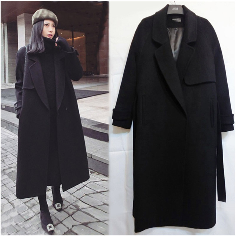 LANMREM 2019 New Autumn And Winter Fashion Solid Color Long-sleeved Wool Thickened Long Lapels Single-breasted Woolen Coat PA143