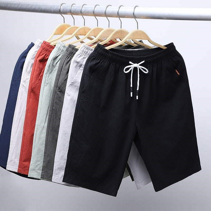 Summer New Style Men's Solid Color Casual Imitation Linen Shorts Large Size Faux Cotton Linen Beach Shorts Loose Thin Shorts