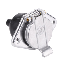 Universal 24V 7-Pin Trailer Plug 7-Pole Wiring Connector Adapter Socket Safety Insulating Rubber Port Metal Cover Reliable