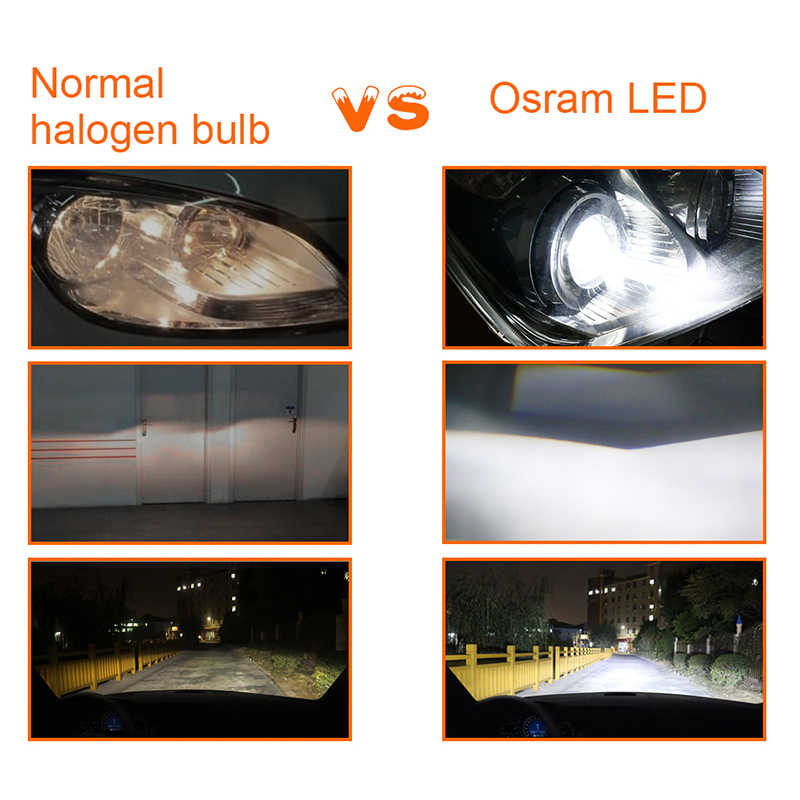 Osram LED H1 H11 H8 9005 9006 HB3 HB4 9012 H1R2 led lamp h16  H4 Hi Lo Car Light h7 led headlight bulbs	12V luces led para auto