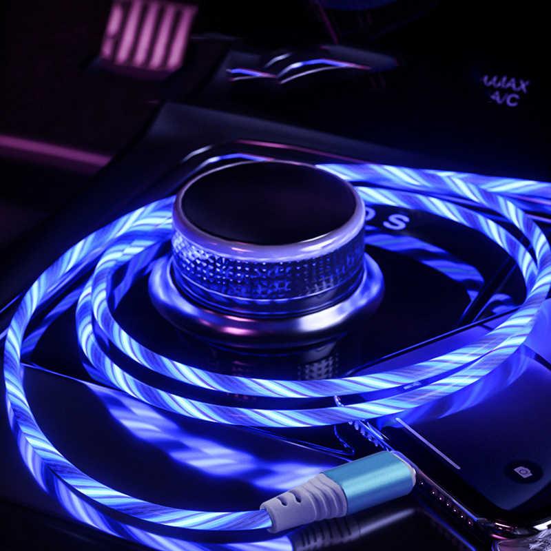 1m usb telefon ladekabel fließende licht ladekabel led draht für micro usb typ c beleuchtet Schnelle Ladegerät