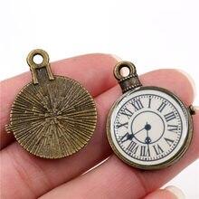32x25mm 6 pçs antigo bronze chapeado relógio artesanal encantos pingente: diy para pulseira necklace-R2-14