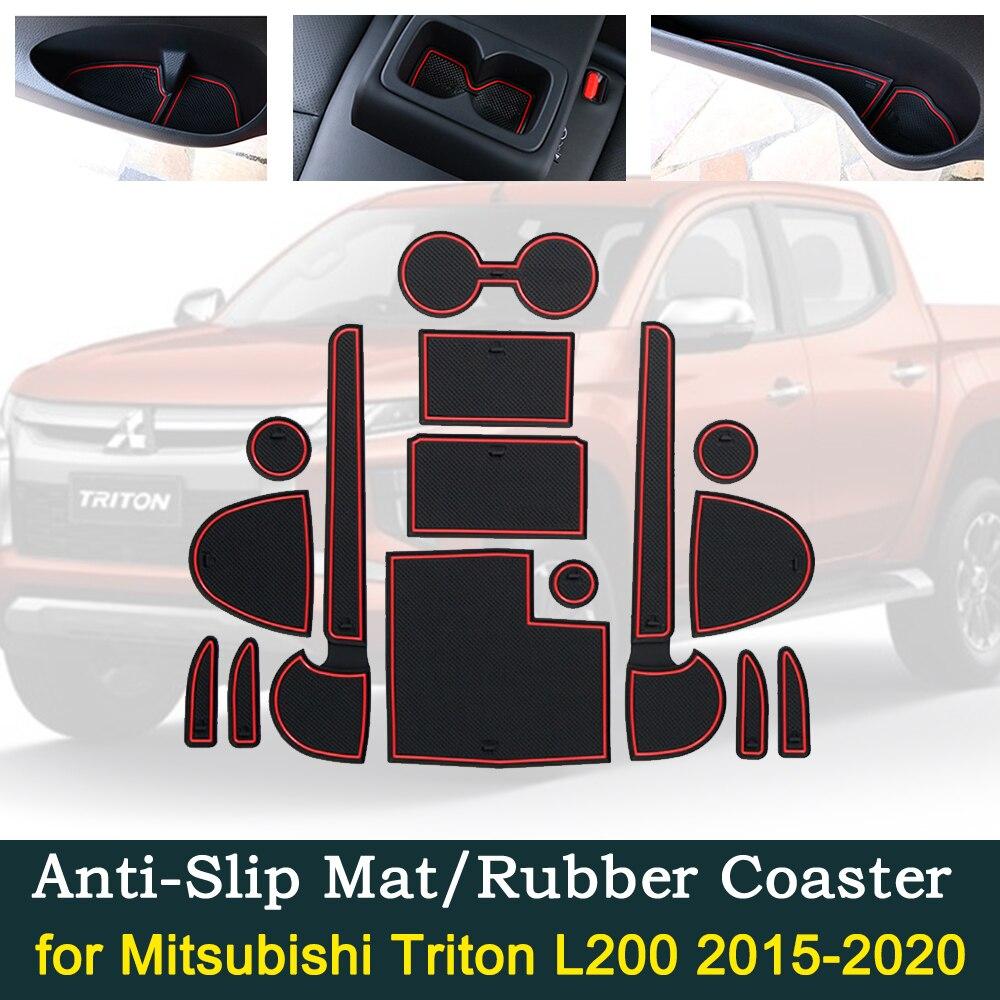 Противоскользящий резиновый коврик для двери чашки для Mitsubishi L200 Triton Strada strнаре варвар Fiat полный задний RAM 1200 2015 ~ 2020 аксессуары
