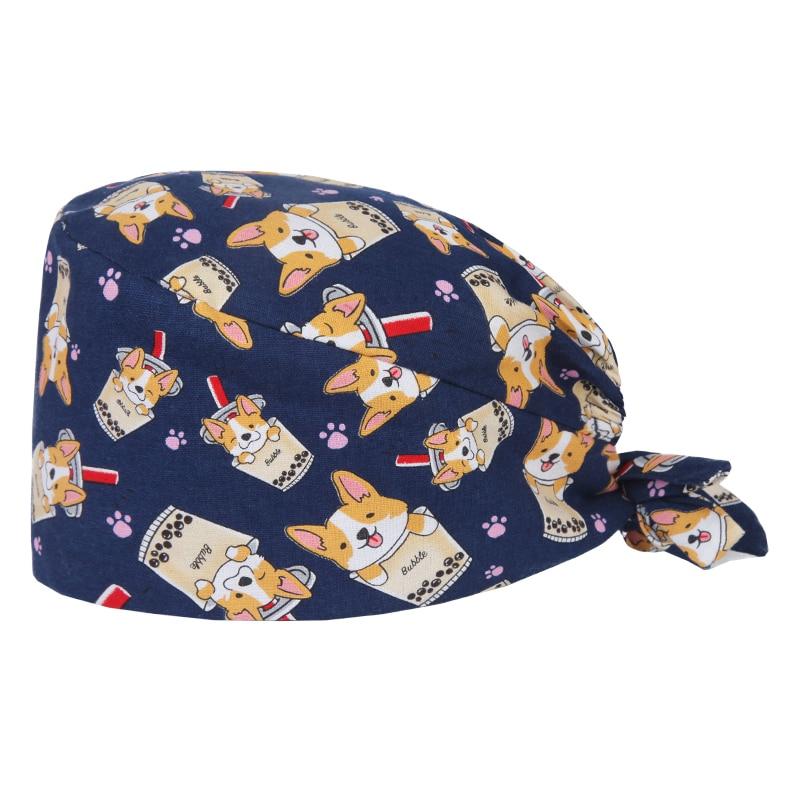 Unisex Shiba Inu Akita Print Pet Doctor Surgical Cap Veterinary Nurse Work Hat Veterinary Caps Cotton Tieback Adjustable Hats