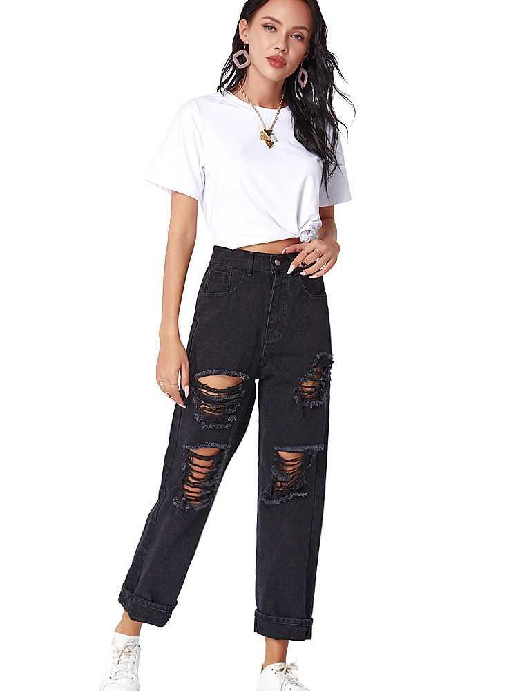 Jeans Donna Strappati Vita Alta Elasticizzati Pantaloni Donna Estivi Casual Skinny Fashion Women Slim Fit Denim Trousers Pants