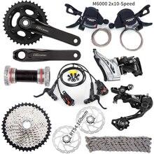 Shimano Deore M6000 9 Pcs 3X10 2x10 Speed Groepset HG500 10 11 42T M6000 Achterderailleur Versnellingspook Crankstel Rem rotors