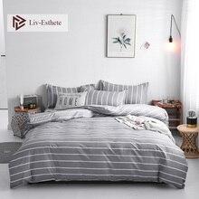 Liv-Esthete Fashion Striped Bedding Set Duvet Cover Bedspread Flat Sheet Pillowcase Single Double Queen King Bed Linen For Adult