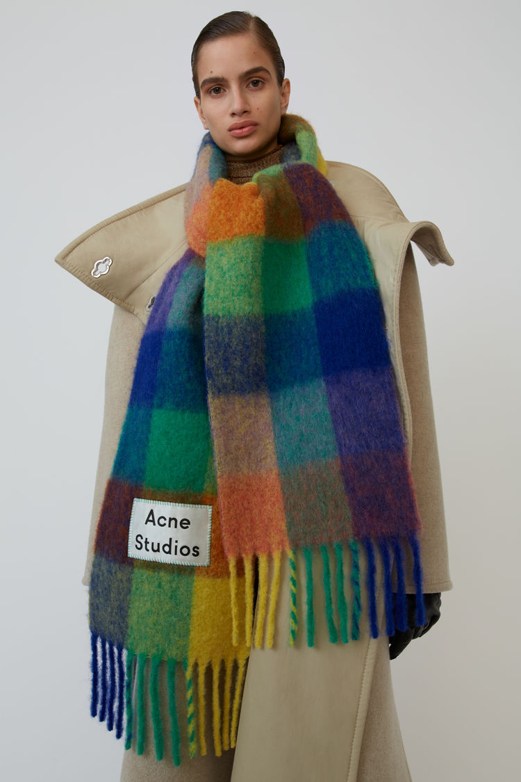 Ac Family Cashmere Shawl in Autumn and Winter2019,Winter Fashion Colored Chequered Scarf Warms Students'Necks and Thicker Shawls