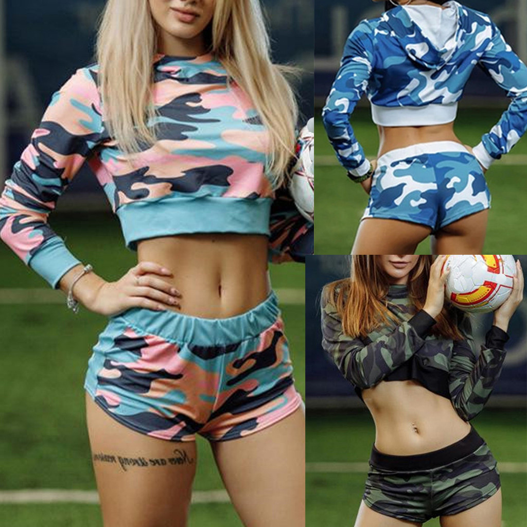 Hot Sale Women Yoga Set Ladies' Print High Waist Hip Bottom Pants Running Fitness Yoga Shirt+shorts Suit Sportswear Fitness#35
