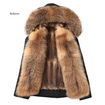 Fox Fur Coat Super Big Fake Raccoon Fur Collar Hood Winter Jacket Women Parka men made mink Fur Liner Thick Warm Detachable image
