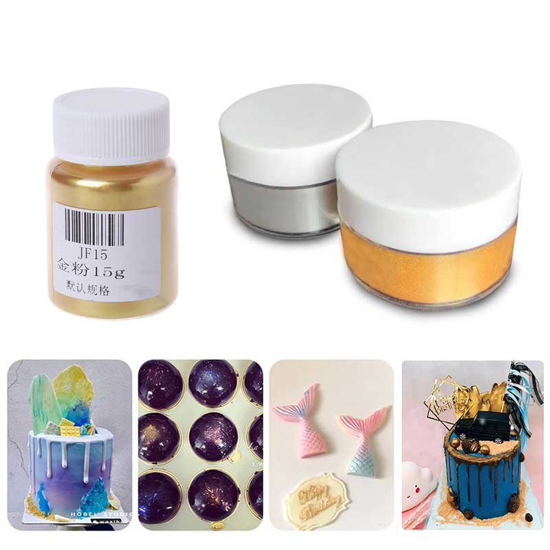 New 5/15g Edible Flash Glitter Golden Silver Powder For Decorating Food Cake Biscuit Baking Supply DIY Pigment