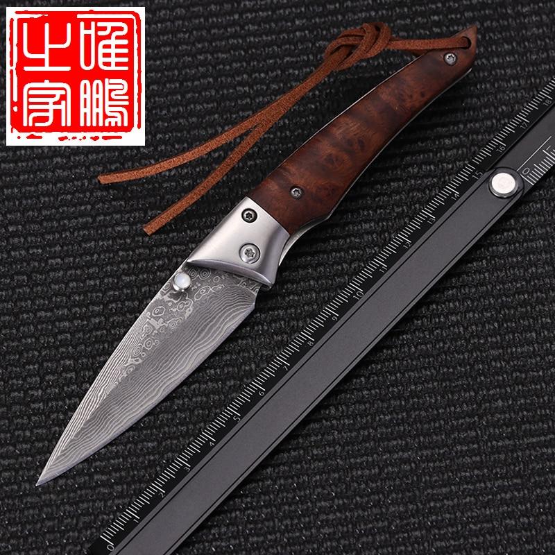Folding Pocket Knife Damascus Steel Blade Steel Bolster Sandalwood Handle Outdoor Camping Hunting EDC Tactical Survival  Knives