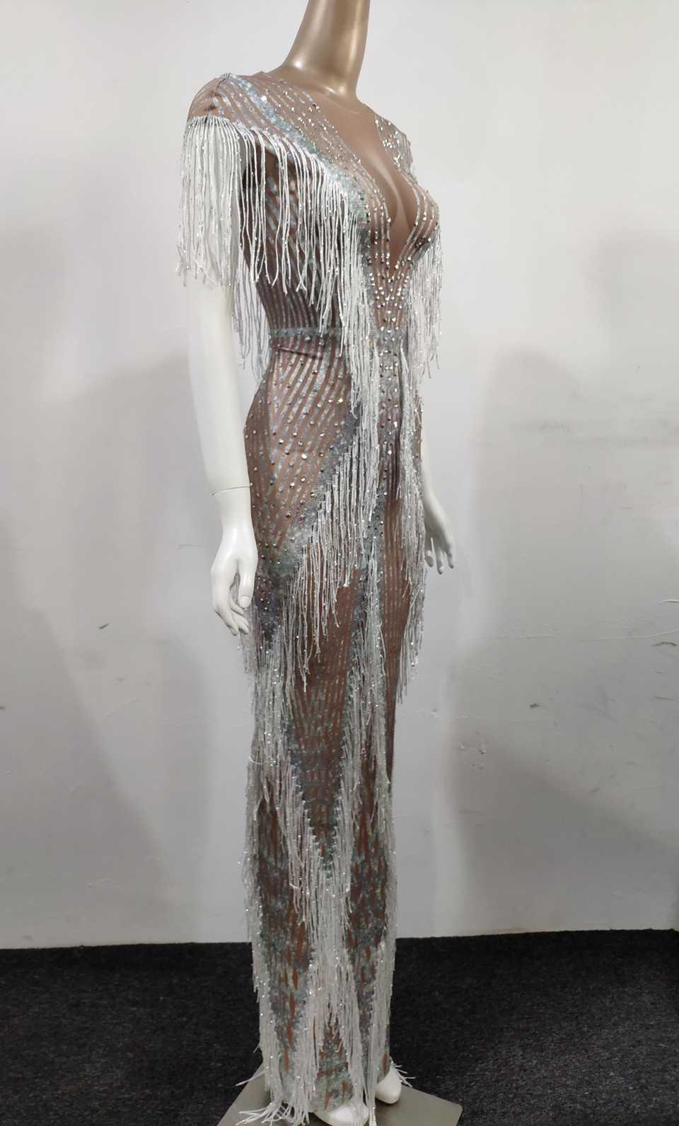 Świecący dżetów frędzle długa sukienka kobiety urodziny święto, na imprezę obcisła sukienka sukienka wieczorowa kobiet kostium sceniczny piosenkarki