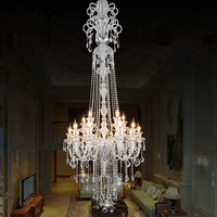 Free Shipping K9 Clear Chandelier Staircase Candle Crystal Chandelier Fixture Staircase Lighting Stairs Long Hanging Chandelier