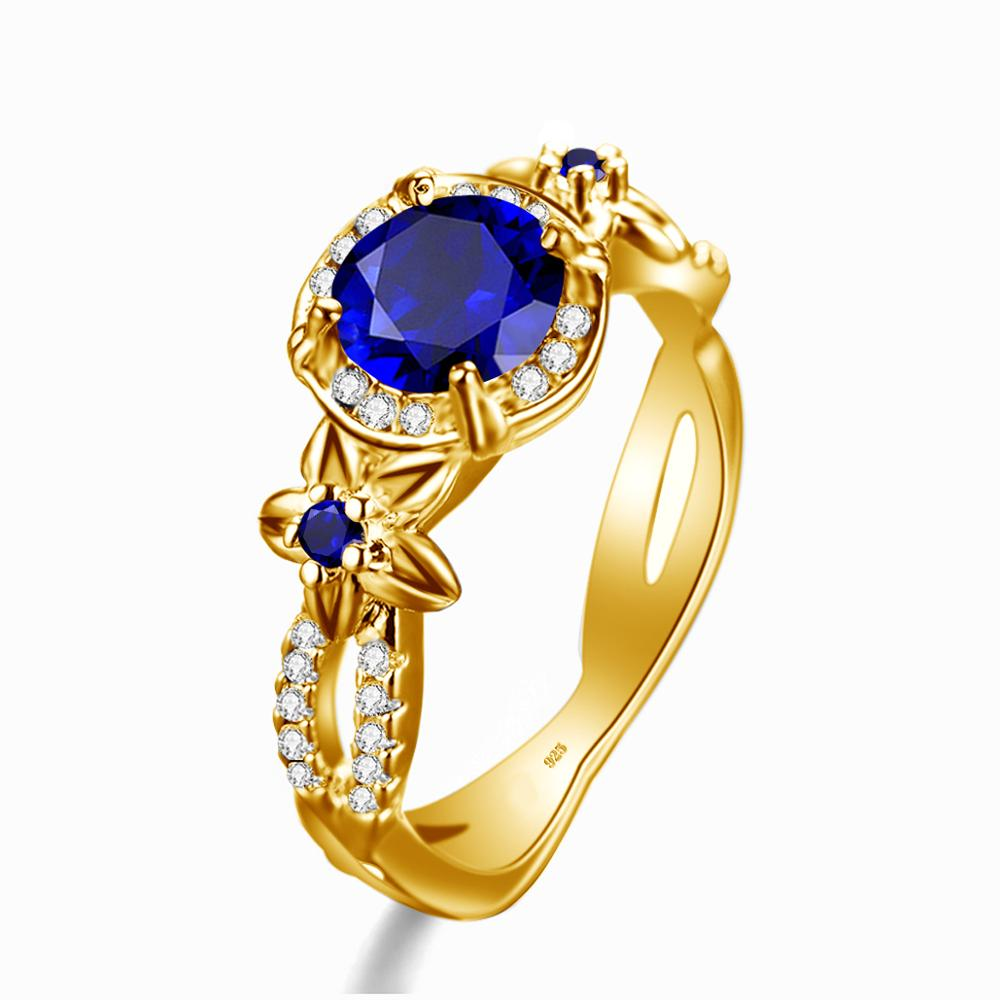 Szjinao Real 925 Sterling Silver 18K Gold Rings Natural Gemstone Designer Fine Jewelry Sapphire Ring for Women With Diamond Best(China)