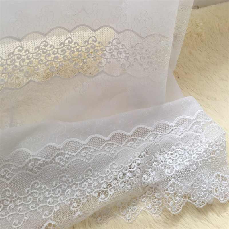Lüks jakar beyaz perdeler yatak odası için içi boş dantel alt narin zarif fransız pencere perdeleri JS56C