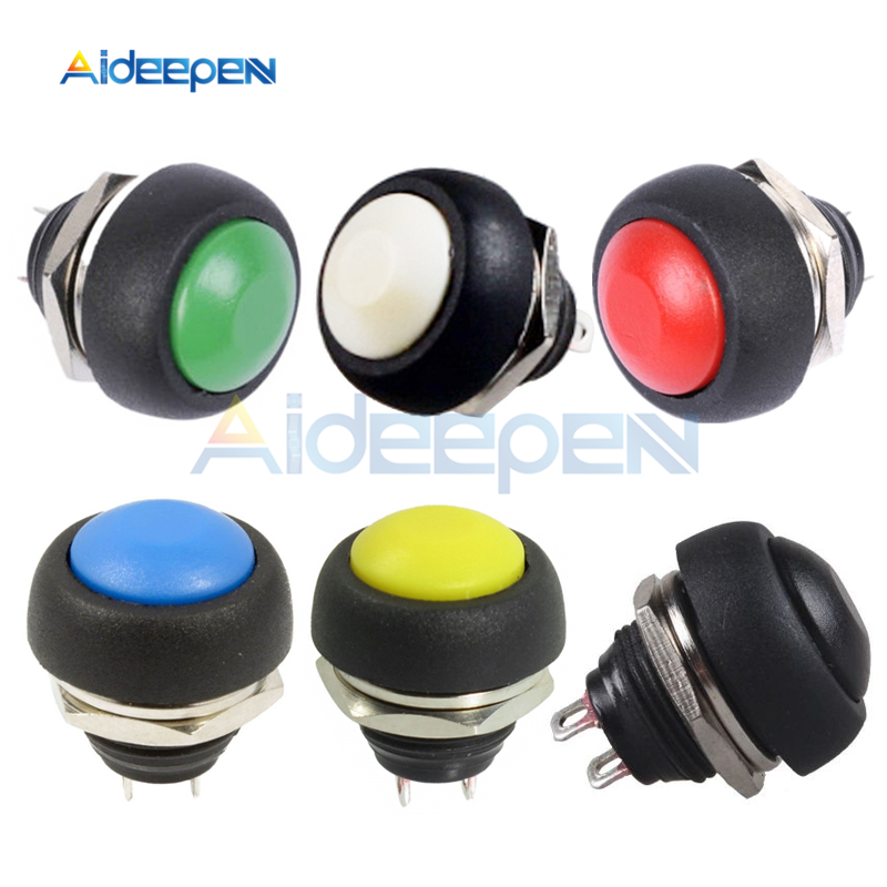 5pcs Mini Red Round Switch 12mm  Momentary Push button Switch Non Lock