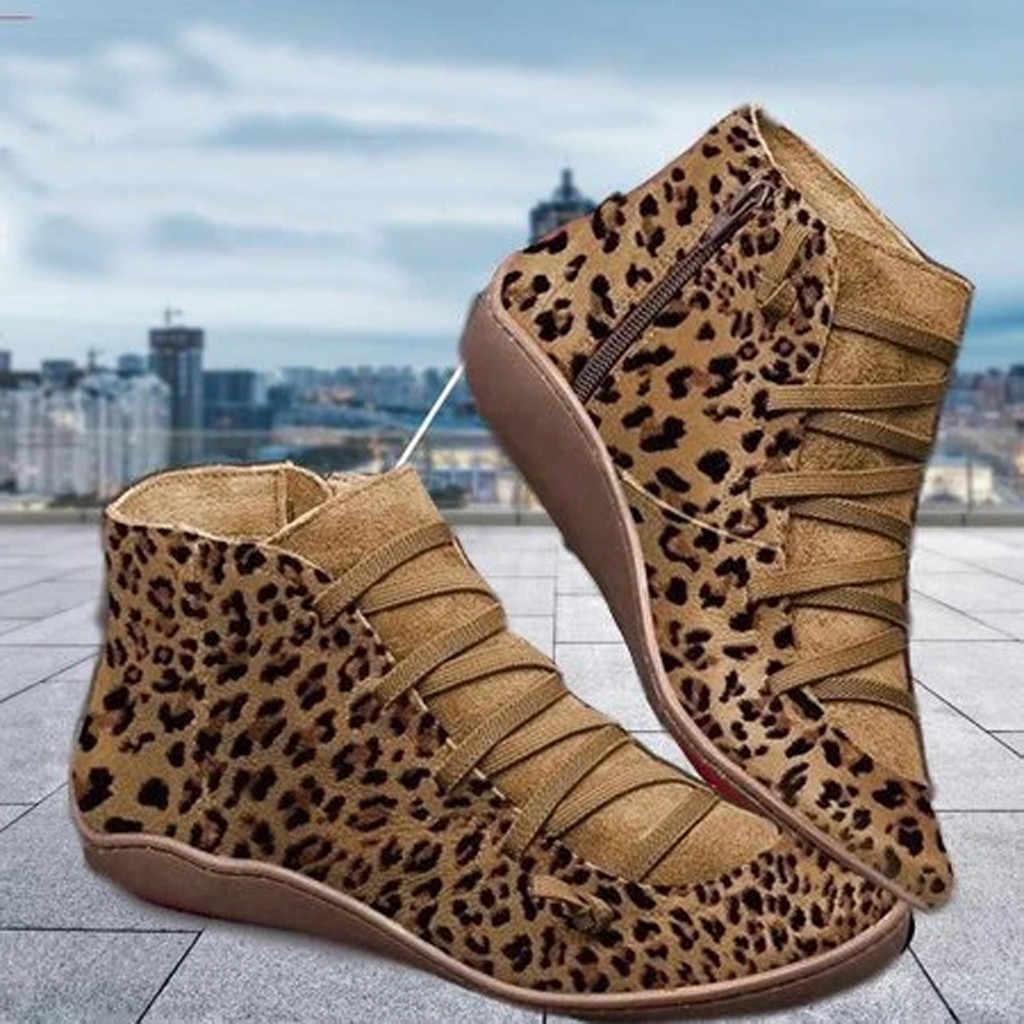 Femmes nouveau décontracté automne hiver bottes plates imprimé léopard à lacets fermeture éclair bout rond chaussure femme bottines bottes de randonnée plus chaudes