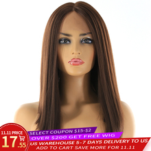 Średnie brązowe syntetyczne włosy koronki przodu peruki wysokiej temperatury włókna X TRESS Yaki prosto krótki Bob Blunt koronkowa peruka środkowa część