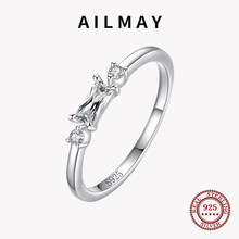 Ailmay 925 Sterling Silver Rectangle Shiny and transparent Rings For Women Classic Luxury Wedding Accessories Party Accessories