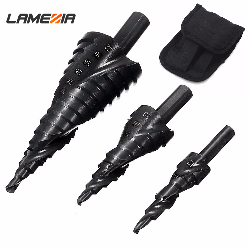 LAMEZIA 3PCS HSS Cobalt Step Stepped Drill Bits Set Nitrogen High Spiral For Metal Cone Triangle Shank Hole Woodworking Tools