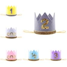 1 шт. шапка на день рождения 1/2 1 2 3 Цветочная корона 1 день рождения шляпа с блестками для новорожденного ребенка 1 год повязка на голову для дн...
