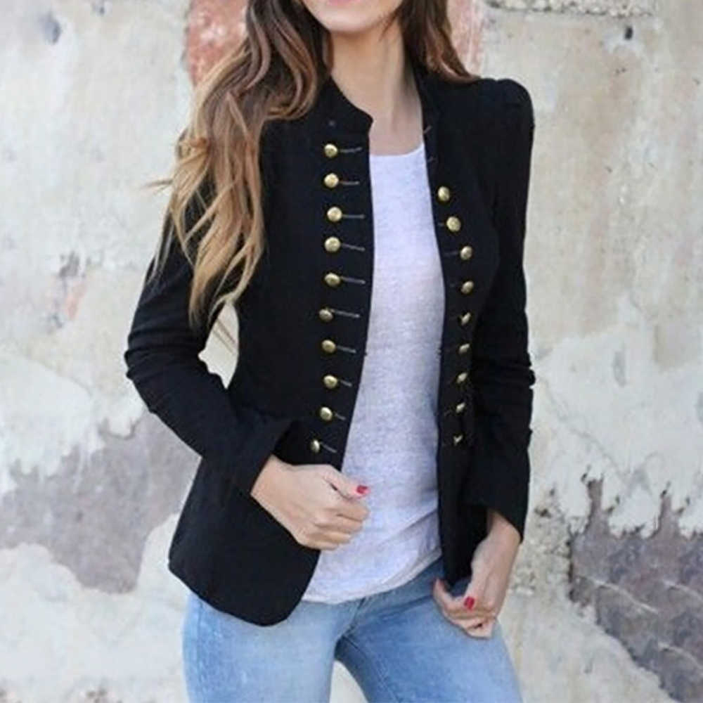 2019 Women Vintage Jacket Slim Fit Gothic Party Steampunk Jackets White Black Double Breasted Stand Fashion Women Jacket Outwear