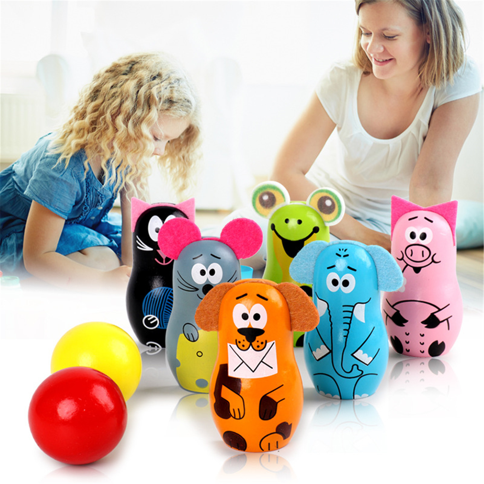 WOODEN MINI BOWLING BALL SET Cartoon Animal Shape Ball Game Kids Outdoor Sport Toys For Color Digital Cognition