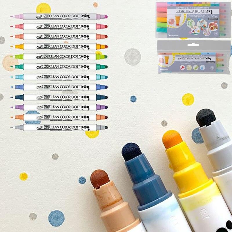 1pc/Japan Kuretake Zig Double Head Round Dot Watercolor Pen Bullet Journal Pen Kawaii Marker Pen Art Supplies