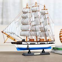 Small solid wooden sailboat model decoration smooth sailing decoration craft ship simulation ship graduation gift