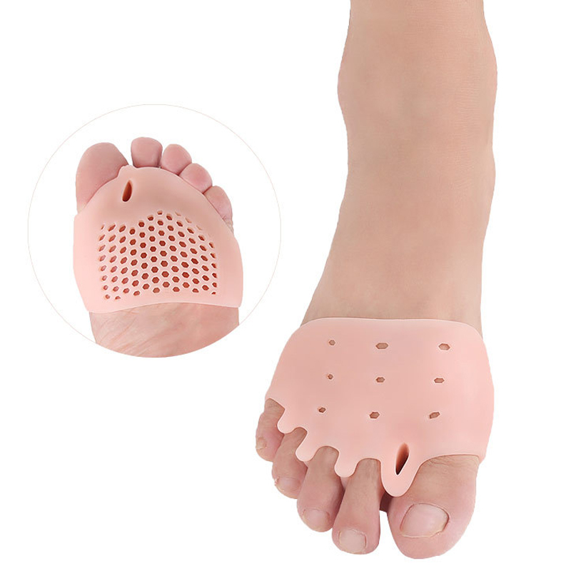 New 1 Pair Silicone Comfortable Toe Braces 5-holes Breathable Foot Toe Braces Foot Care Pads Orthopedic For Foot Care Insoles