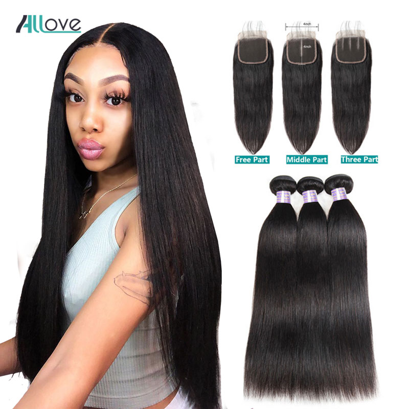 Peruvian Straight Hair Bundles With Closure Human Hair 3 Bundles With Closure  Non-Remy Allove Hair Bundles And Closure
