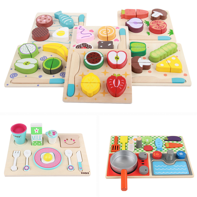 Wooden Kitchen Cut Fruits Vegetables Dessert Kids Cooking Simulation Kitchen Toy Food Pretend Play Puzzle Educational Toys