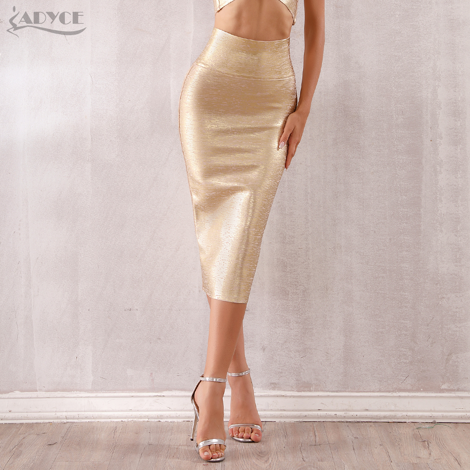 ADYCE 2019 New Summer Women Bandage Skirts Sexy Celebrity Runway Party Skirts Mid-Calf Gold Female Bodycon Club Pencil Skirts