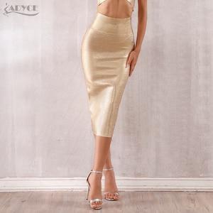 Image 2 - Adyce faldas de estilo vendaje para mujer, faldas ajustadas de media pantorrilla doradas, sexys, para fiesta de celebraciones y clubes, 2020