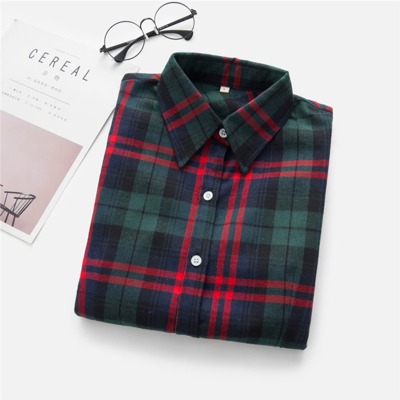 2020 New Women Blouses Brand New Excellent Quality Cotton 32style Plaid Shirt Women Casual Long Sleeve Shirt Tops Lady Clothes 30