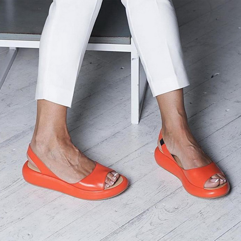 2020 Summer Casual Solid Color Women Sandals Comfy Flat Non-slip Slides Slip-On Beach Shoes Woman Peep Toe Fashion Sandals White