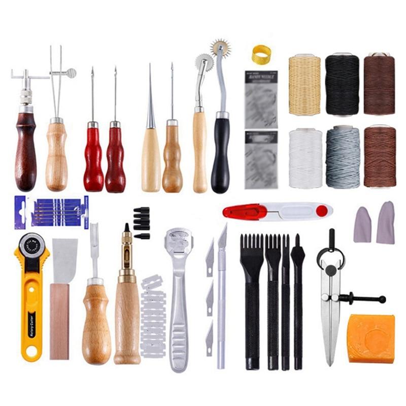Профессиональный набор инструментов для кожевенного ремесла, швейный пробойник для ручного стежка, Гравировальный рабочий кожаный набор и