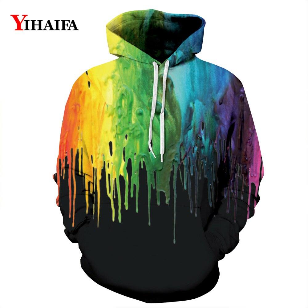 3D Hoodies Mens Womens Sweatshirt Rainbow Splash Oil Painted Graphic Pullover Stylish Tracksuit Casual Couples Streetwear
