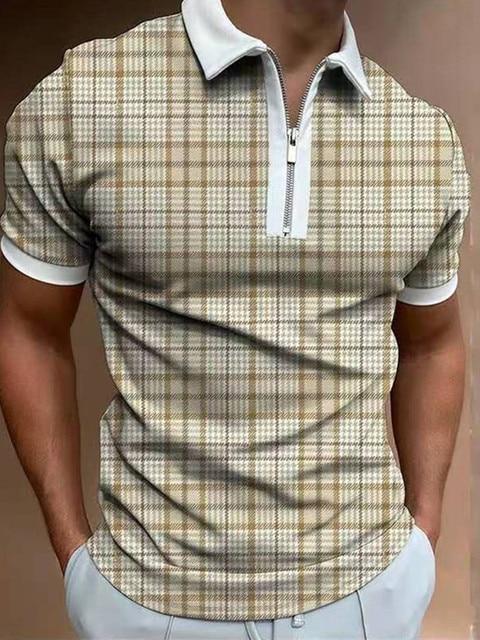 Xadrez masculina retalhos manga curta polo camisas 2021 casual turn-down colarinho zíper design verão harajuku streetwear masculino S-3X 2