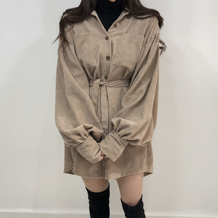 H420805ca1b1d40a2b633924337b6f138W - Autumn / Winter Turn-Down Collar Long Sleeves Corduroy Solid Mini Dress