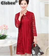 boho 2019 Summer Dress Middle-Aged Woman Lace Dress Suit Long Sleeve Elegant Wedding Party Dresses Red vestido invierno mujer(China)