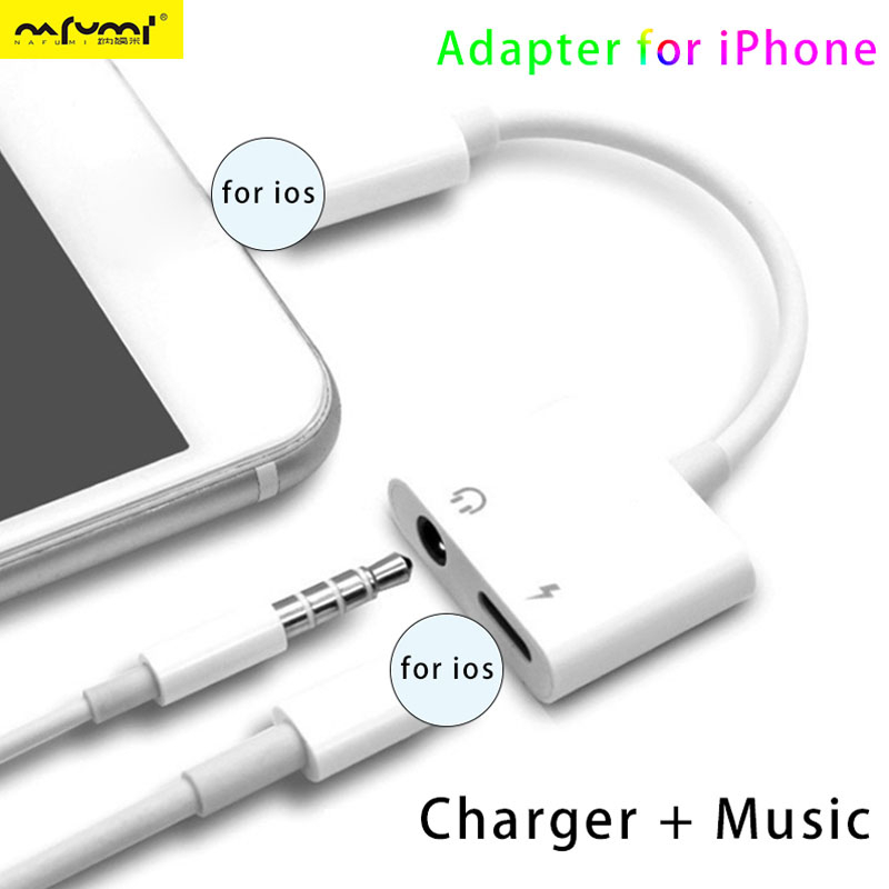 2 IN 1 Double Jack Adapter For IPhone 11 7 8 X XS IOS System Listen Music Earphone Jack Charging Aux Audio Headphone Adapters