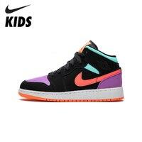Nike air jordan 1 original crianças sapatos confortáveis leve tênis de basquete esportes # AR6352 083|Tênis| |  -