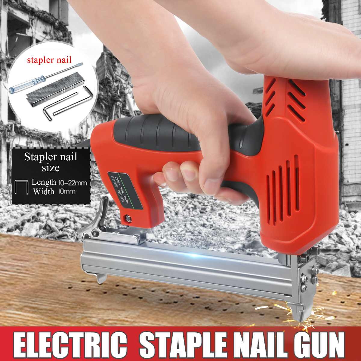 Drillpro Electric Straight Nail Gun 10-22mm 220V 2000W Heavy-Duty Woodworking Tool High Power Electrical Staple Nail