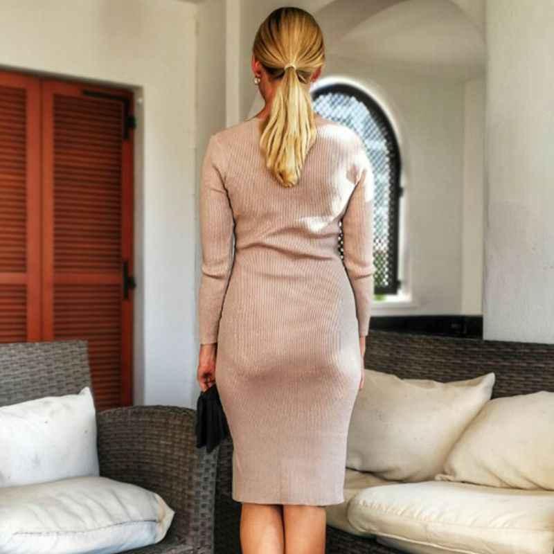 Bygouby Tới Đầu Gối Dệt Kim Thu Đông Nữ Đầm Xòe Phối Chân Ren Lấp Lánh Áo Len Đầm Cổ Chữ V Gợi Cảm Sườn Nữ Áo Thun Cổ Áo