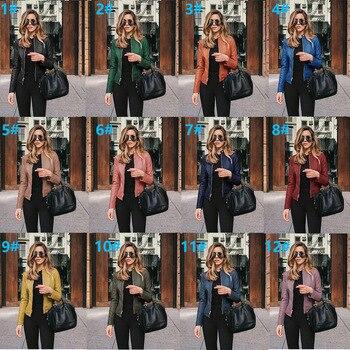 Women's PU Leather Bomber Basic Jacket Coats Autumn Fashion Slim Turn Down Collar Long Sleeve Coats Outwear 12 Colors Options 1